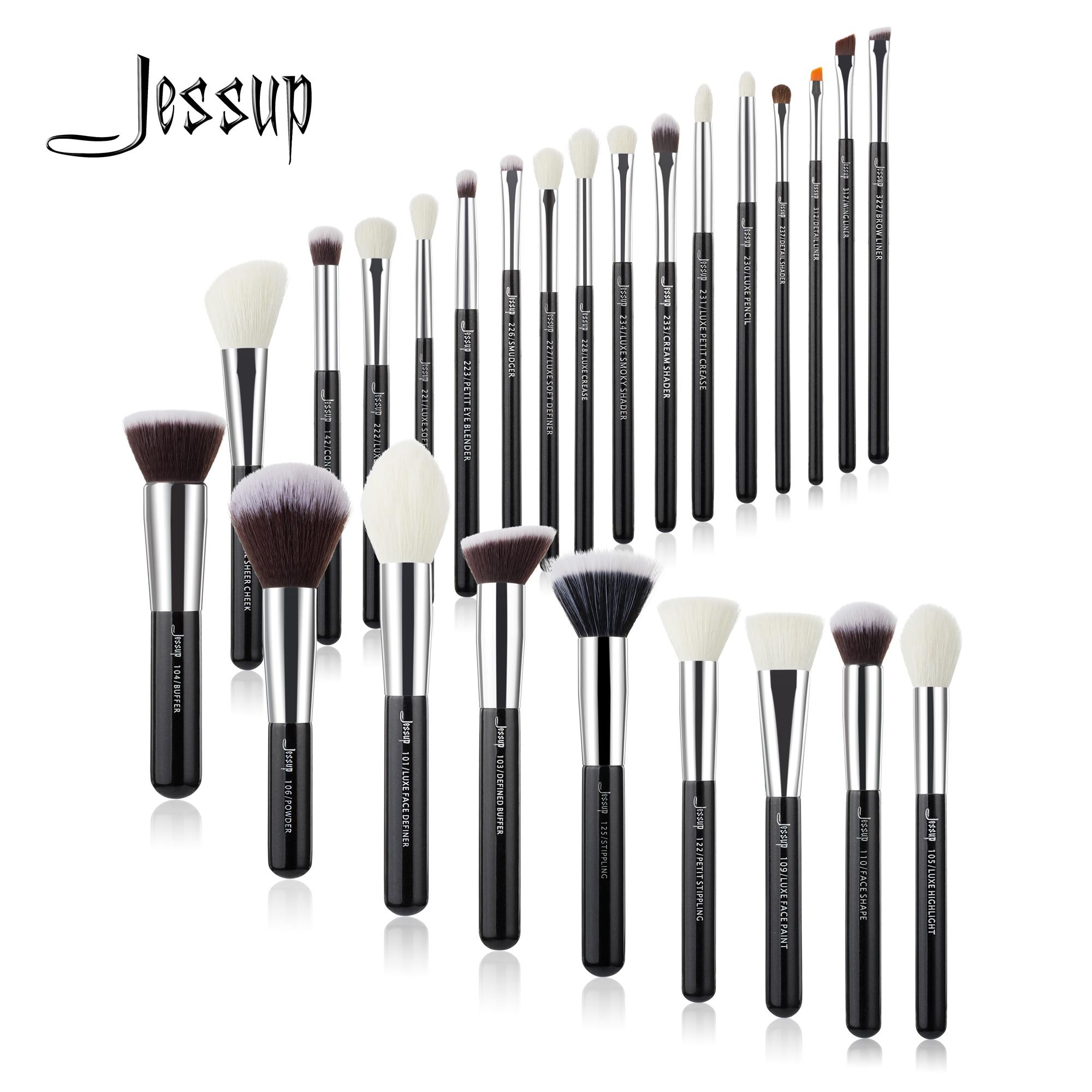 Jessup Black/Silver Professional Makeup Brushes Set Foundation Powder Eyeshadow Make up Brush Blushes natural synthetic hair|brush set make up|makeup brush setprofessional makeup brush set - AliExpress