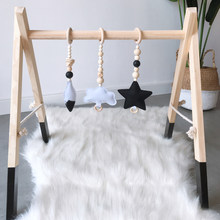3Pcs Ins Nordic Style Baby Gym Wood Toys Solid Wood Felt Star Cloud Shape Pendant Hanging Ornaments Kids Room Decor Baby Gym Toy(China)