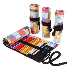 лучшая цена 12/24/36/48/72 Roll School Pencil Case Kawaii Canvas Pen Bag Penal for Girls Boys Cute Large Pencilcase Penalties Box Stationery