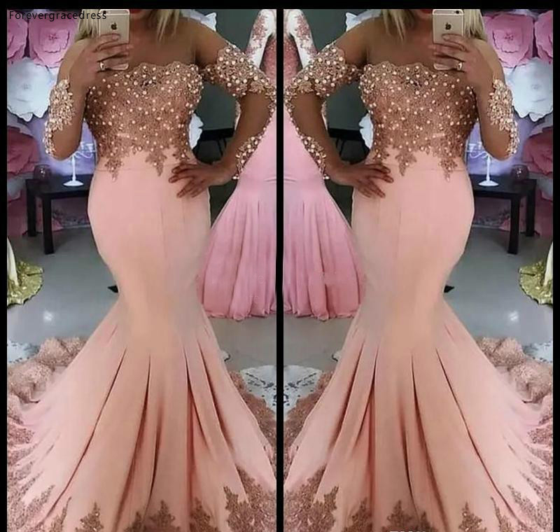 2019 Cheap Pink   Prom     Dress   Mermaid Off Shoulder Long Sleeves Formal Holidays Wear Graduation Evening Party Gown Plus Size