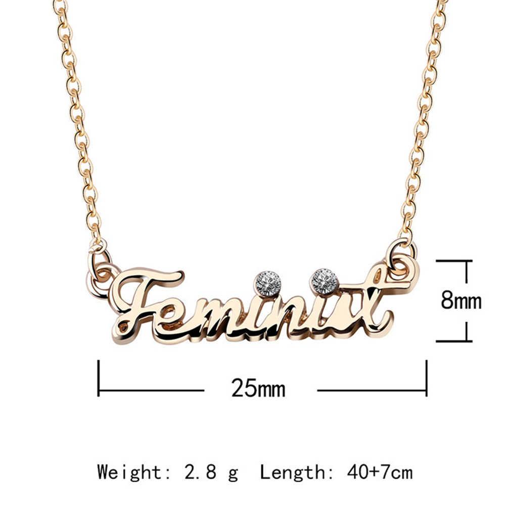 11.11 新ファッション女性立方ジルコンフェミニスト言葉ネックレス合金のセーターのチェーンジュエリーアクセサリークリスマスのギフト