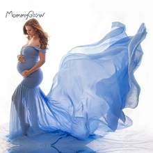 Vestito incinta Nuovo Maternità Fotografia Puntelli Per Le Riprese Foto Gravidanza Vestiti di Cotone + Chiffon Off Spalla Mezza Cerchio Abito