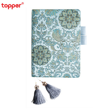 1pc A5 creative notebook with tassel boomark retro cloth cover diary flower gird inner page school office supply new stationery a5 chinese style color painting page vintage notebook with tassel cute retro book china 70 sheets paper exquisite stationery