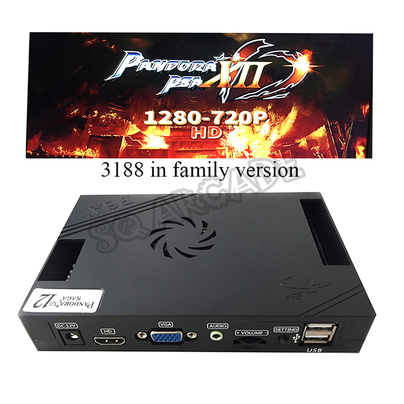 Home Version Pandora Box 12 3188 In 1 With 53 3d Games Support 4 Players VGA HDMI Output Arcade Game Board