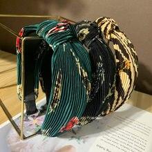 Bohemian Vintage Flower Pleated Knot Headband Knotted Hairba