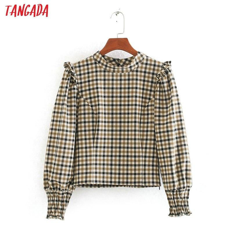 Tangada Women Retro Plaid Print Blouse Ruffles Long Sleeve Chic Female Casual Crop Shirt Blusas Femininas CE116