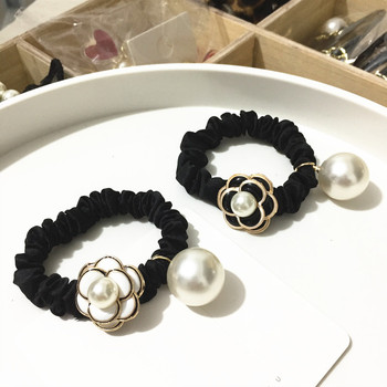 цена на Women Camellia Hair Accessories Chic Black White Flower Fabric Hair Ring/rope Fashion Pearl Elastic Hair Bands Rubber Band