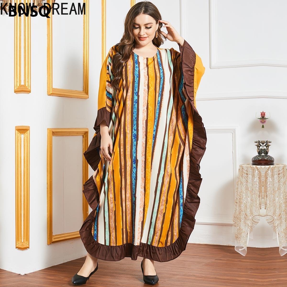 Узнайте DREAM2045 Большие размеры Женская юбка в полоску в виде листка лотоса сбоку рукав «летучая мышь» с длинными рукавами на каждый день мусу...