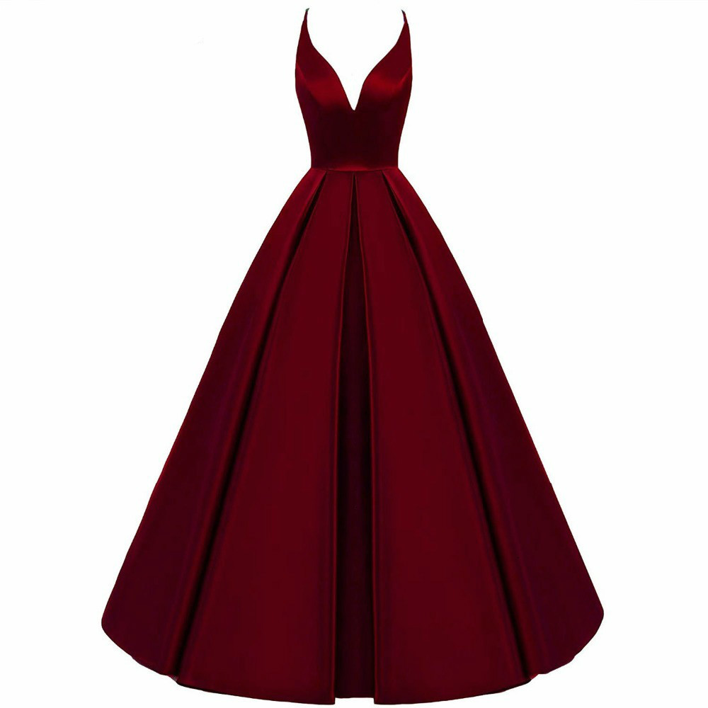 2020 Spaghetti Straps Cross Back Burgundy Bridesmaid Dresses Long A Line V-Neck Satin Prom Formal Wedding Party Dresses
