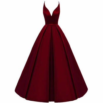 2020 Spaghetti Straps Cross Back Burgundy Bridesmaid Dresses Long A Line V-Neck Satin Prom Formal Wedding Party  - discount item  2% OFF Wedding Party Dress