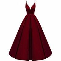 2020 Spaghetti Straps Cross Back Burgundy Bridesmaid Dresses Long A Line V Neck Satin Prom Formal Wedding Party Dresses