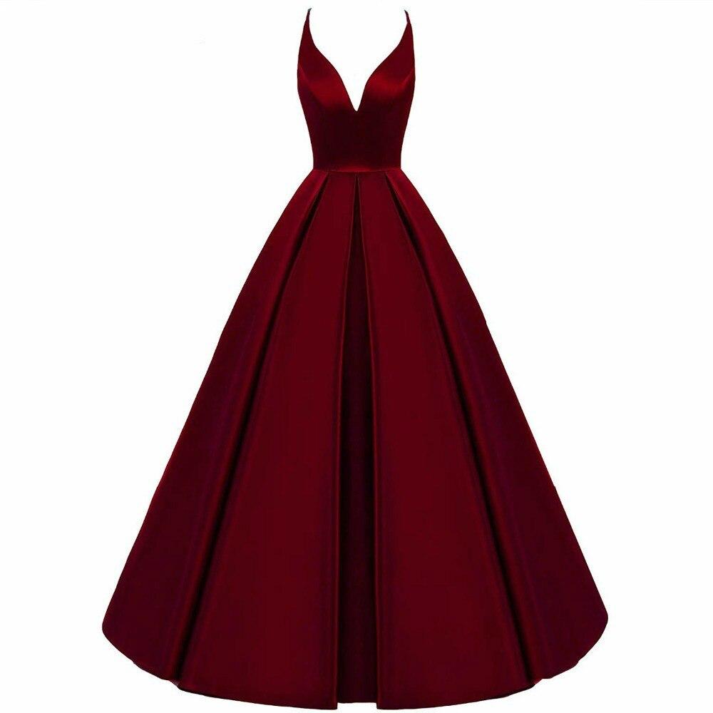 2020 Spaghetti Straps Cross Back Burgundy   Bridesmaid     Dresses   Long A Line V-Neck Satin Prom Formal Wedding Party   Dresses