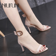 цены Wedding Shoes Peep Toe Transparent Women Sandals Pointed Toe Buckle High Heels Summer Footwear Shoes For Women Sandalias mujer