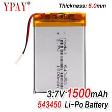 цена на 1500mAh 543450 3.7V Polymer Lithium Rechargeable Battery Li-ion Battery 503450 523450 for Smart Phone DVD MP3 MP4 Led Lamp