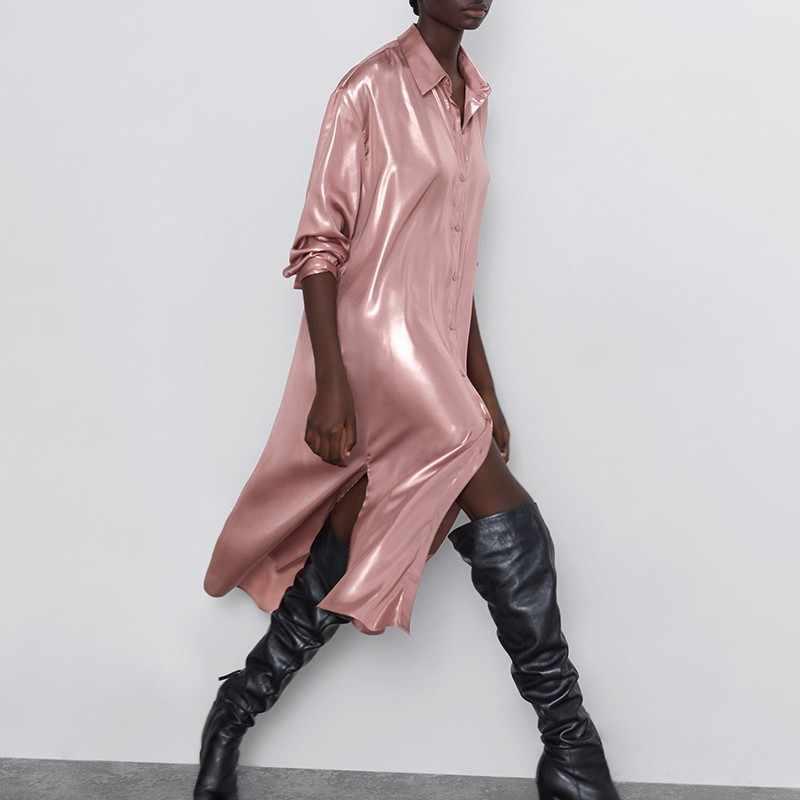 ピンクの Tシャツドレスサテンヴィンテージ Za ストレート長袖 Ropa Vestido ロンゴローブフェムセクシーなマキシ女性滑走路ブレザードレス