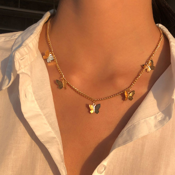 Gold Chain Butterfly Pendant Choker Necklace Women Statement Collares Bohemian Beach Jewelry Gift Collier Cheap