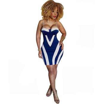 Plus Size Women Sheath Sexy Bodycon Party Summer Dress Spaghetti Strap Sleeveless Backless Patchwork Print Vestidos Robe Femme 2