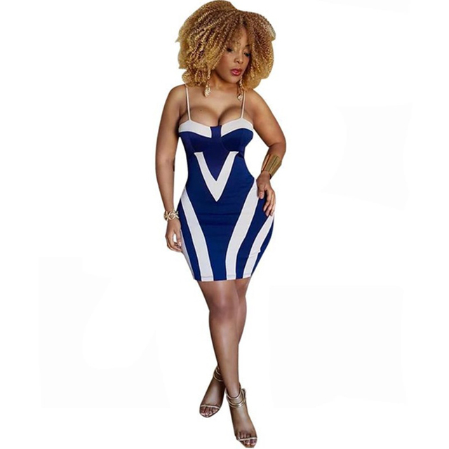 Plus Size Women Sheath Sexy Bodycon Party Summer Dress Spaghetti Strap Sleeveless Backless Patchwork Print Vestidos Robe Femme 2