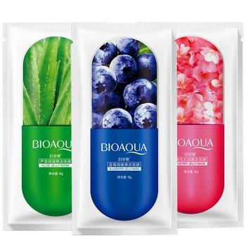 BIOAQUA-mascarilla Facial hidratante con Aloe Vera, arándano y flores de cerezo, para...