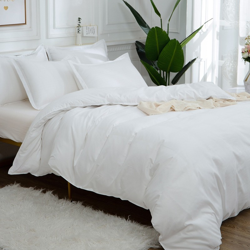 Egyptian Cotton White Comforter Bedding Sets Satin Strip Luxury Soft Home Textile Beddings And Bed Sets Duvet Cover Pillowcases