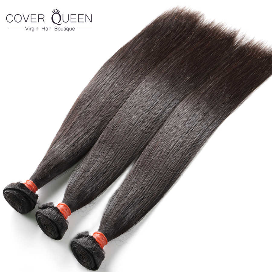 COVER QUEEN Onecut Haar 6-30 32 38 40 Inch Raw Indian Virgin Hair Weave Bundels Straight 10A Onverwerkte menselijk Haar Bundels