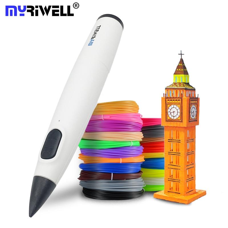 Myriwell 3d caneta diy impressora 3d de baixa temperatura caneta impressão 3d melhor para crianças com filamento pcl 1.75mm natal presente aniversário