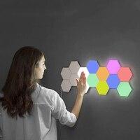 Quantum-Lámpara LED de noche, luz Hexagonal, creativa, Modular, sensible al tacto, magnética, decoración de pared