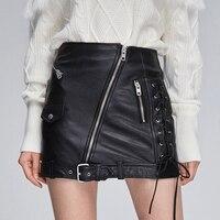 2019 Autumn Fashion PU Leather Lace Up Women Skirts High Waist Pocket Zipper Bandage A Line Mini Skirt Female