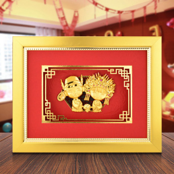 Happy wedding Decor Gold Leaf Painting Wall Pictures For Living room Gold Portrait Desktop Art Ornament Home decor Crafts Gifts