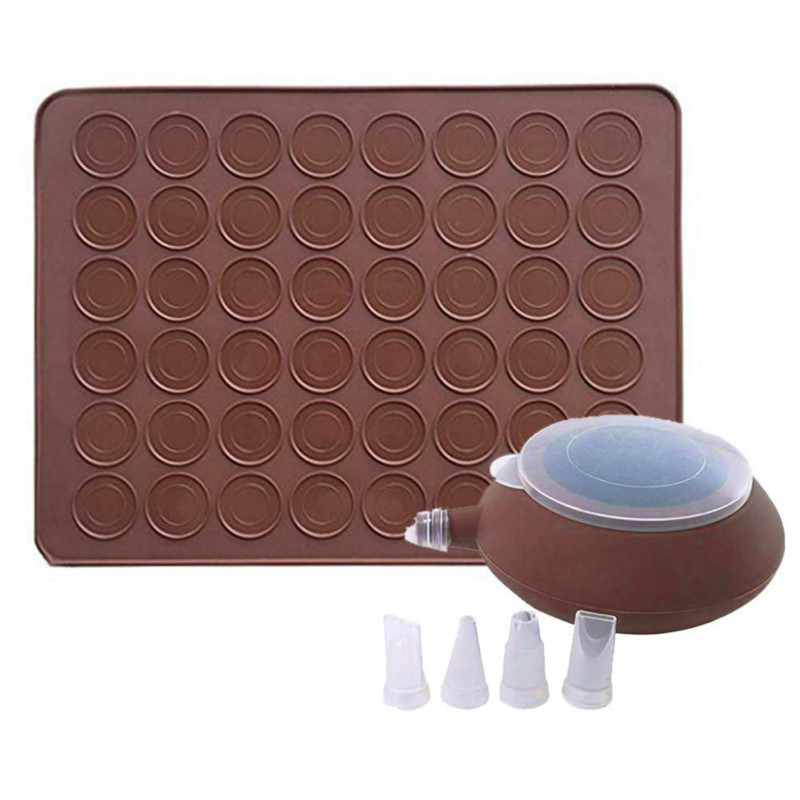 Macaroon Kit Macaron Silicone Mat Non-Stick Baking Mold Set 48 Capacity Macaron Pot Cake Decorating Supplies