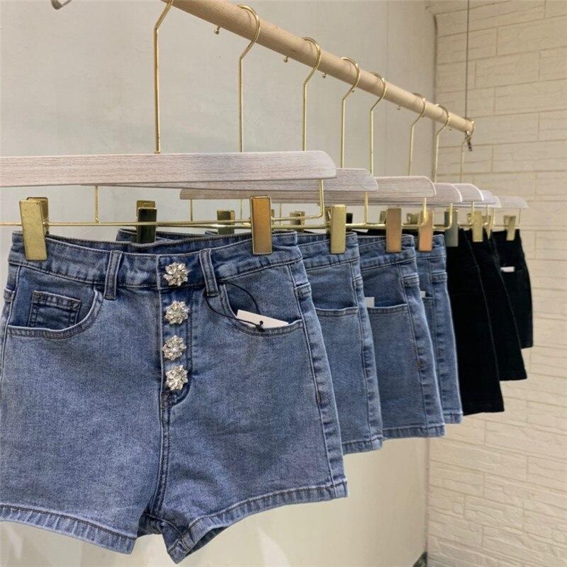 Diamond Buckle Denim Shorts Women Two-color Jeans Shorts Sexy High Waist Women Hotpants
