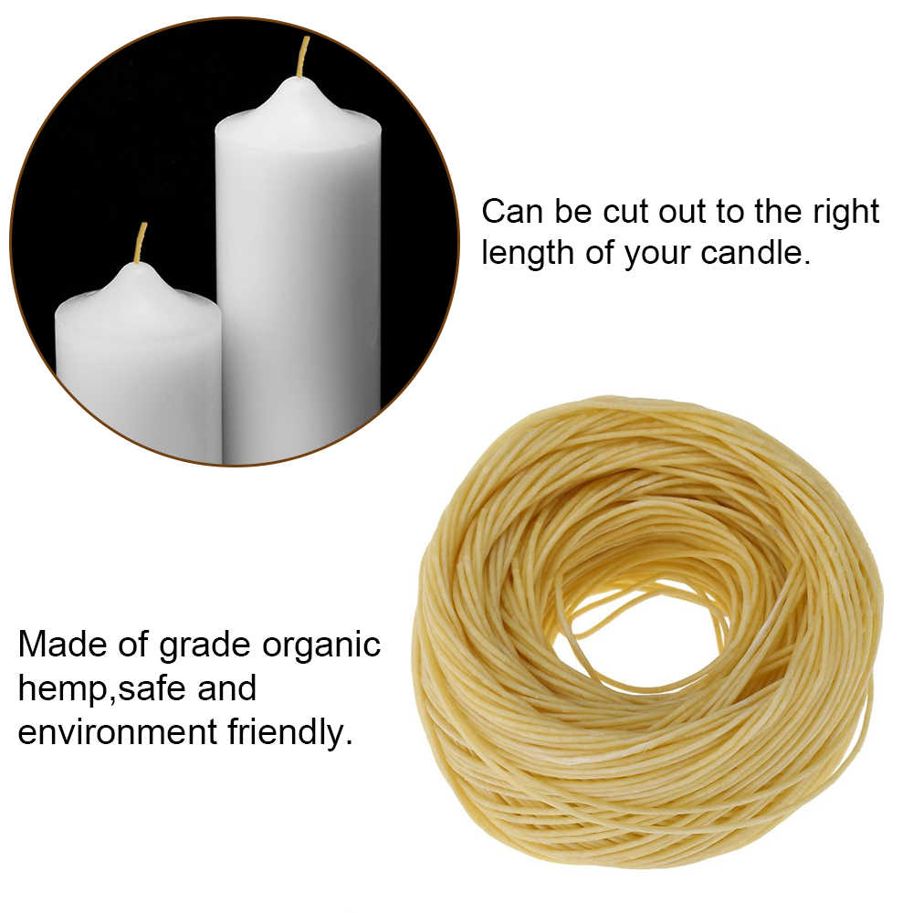 Candle Wick 61m Organic Hemp Candle Hemp Core with Pure Bee Wax for DIY Oil Lamp #1
