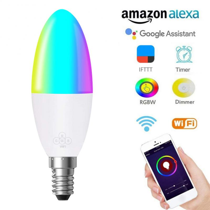 1pcs WiFi Smart Bulb LED 6W RGB E14/E10/E27/B22 color changing light bulb Voice Remote App Control work with Alexa Google Home