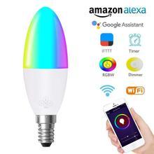 1pcs WIFI สมาร์ทหลอดไฟ LED 6W RGB E14/E10/E27/B22 สีเปลี่ยนหลอดไฟ voice REMOTE APP Control ทำงานร่วมกับ Alexa Google Home