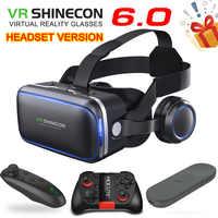 Original vr shinecon 6.0 edição padrão e fone de ouvido versão realidade virtual 3d vr óculos fone de ouvido capacetes controlador opcional