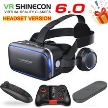 Oryginalna VR shinecon 6 0 wersja standardowa i wersja zestawu słuchawkowego wirtualna rzeczywistość 3D VR okulary zestaw słuchawkowy kaski opcjonalny kontroler tanie tanio Smartphones Brak Supports 4 0-6 2 inch smartphones For Android iPhone Samsung HUAWEI Biocular Wciągające Virtual Reality