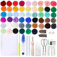 MIUSIE 50 Colors Wool Felt Craft Kit Needle Felting Starter Fabric Roving Household Sewing Felting Mold Needlework Accessories