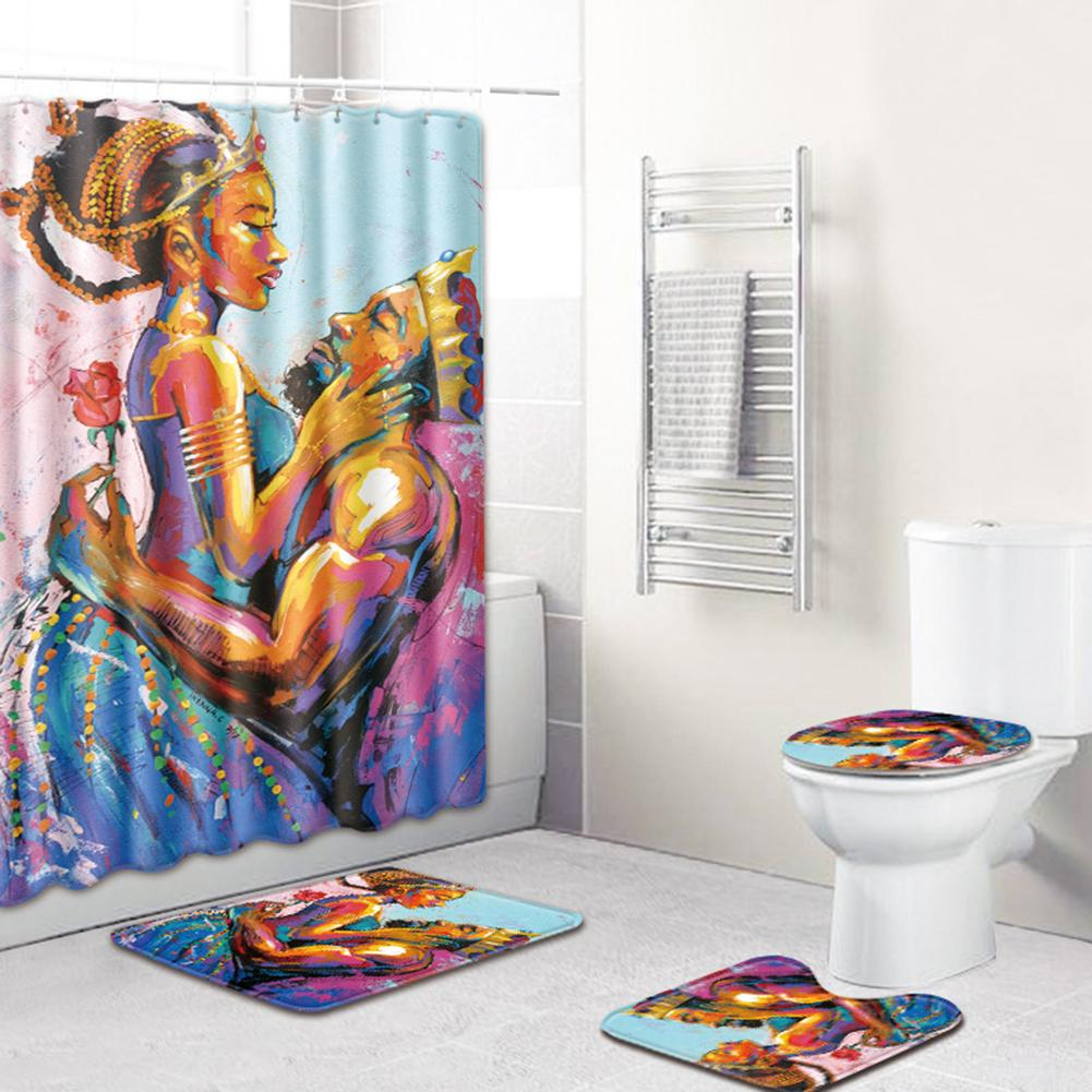 4PC Color Printed Toilet Seat Cover Bathroom Mat Shower Curtain Set Flannel Fabric Soft Absorbent Bathroom Shower Curtain in Shower Curtains from Home Garden