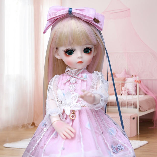 UCanaan BJD Doll 1/6 SD Doll 18 Ball Jointed Dolls With Full Outfits Dress Wig Headdress Shoes Makeup Girls DIY Dress UP Toys 3