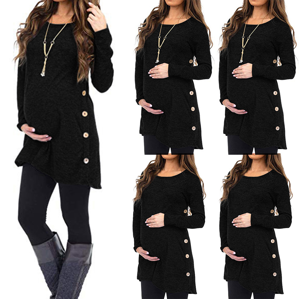 Women Clothing Winter Maternity Nursing Breastfeeding Long Sleeve Button Solid T-Shirt Clothes For Pregnant Hooded Tops Blouse