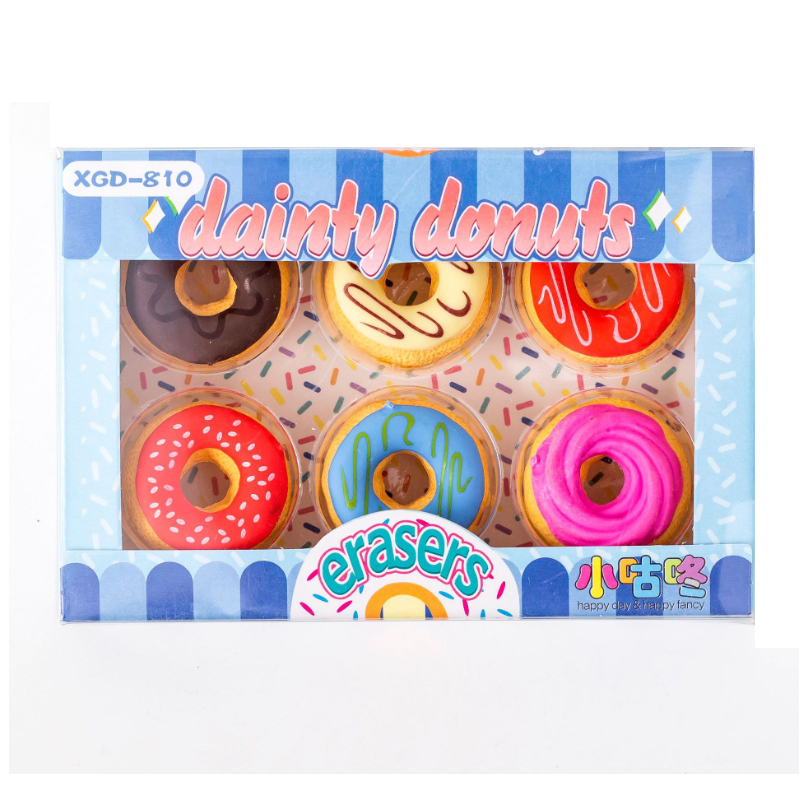 18sets/lot Donut With Candy-colored Eraser Set Kawaii School Supplies For Office School Drawing Wholesale