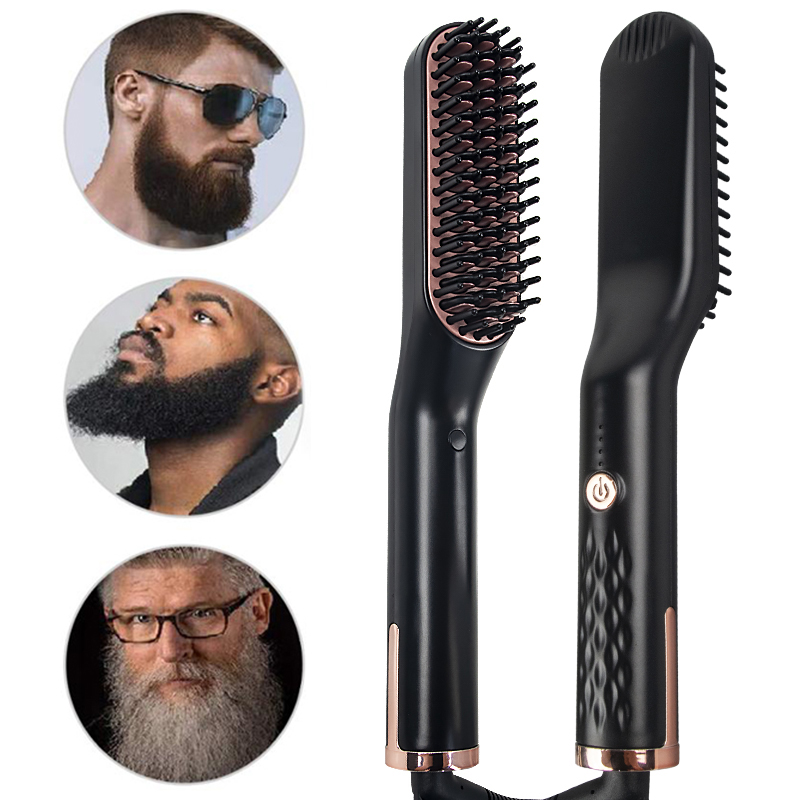Hair Straightener Brush Professional Flat Iron Hot Comb Beard Straightener Hair Iron Straightening Irons Beard Heated Comb Style