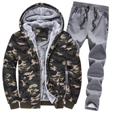 New Mens Winter Warm Fur Lining Tracksuit Casual Camouflage Printed Hooded Coat Full Length Sweatpants Sets Large Size Male Suit(China)