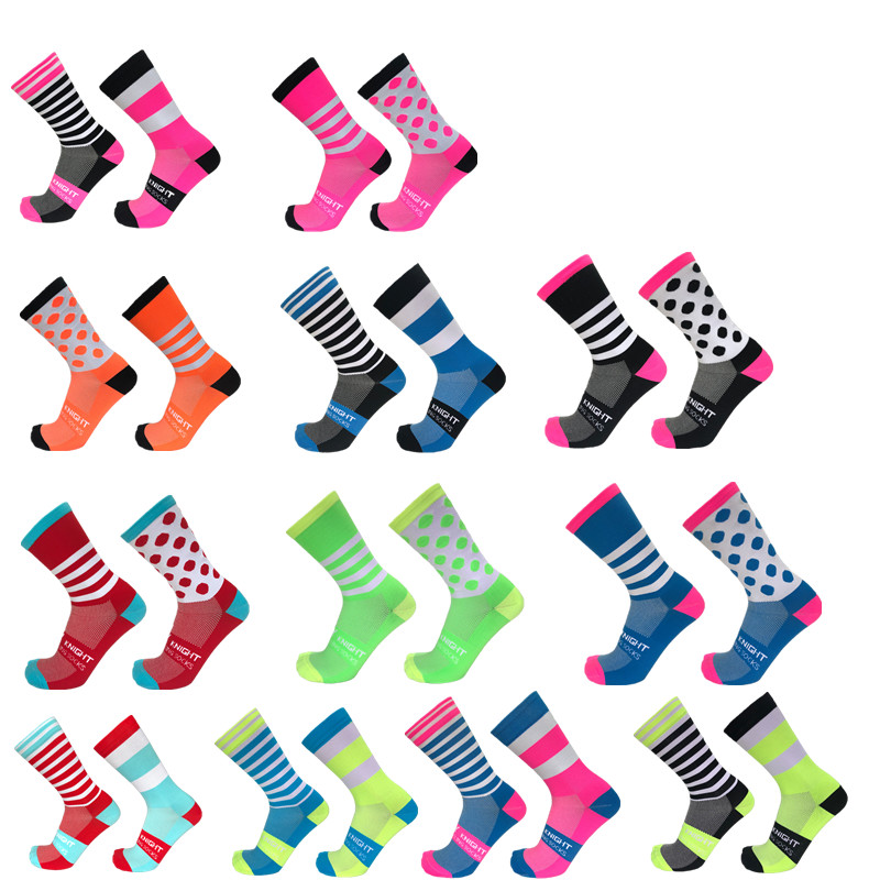 New Stripe Dot Cycling Socks Top Quality Professional Brand Sport Socks Breathable Bicycle Sock Outdoor Racing Running Socks
