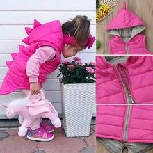 Популярное зимнее теплое пальто с капюшоном и динозавром для маленьких девочек Детская куртка, верхняя одежда, жилет, жилеты