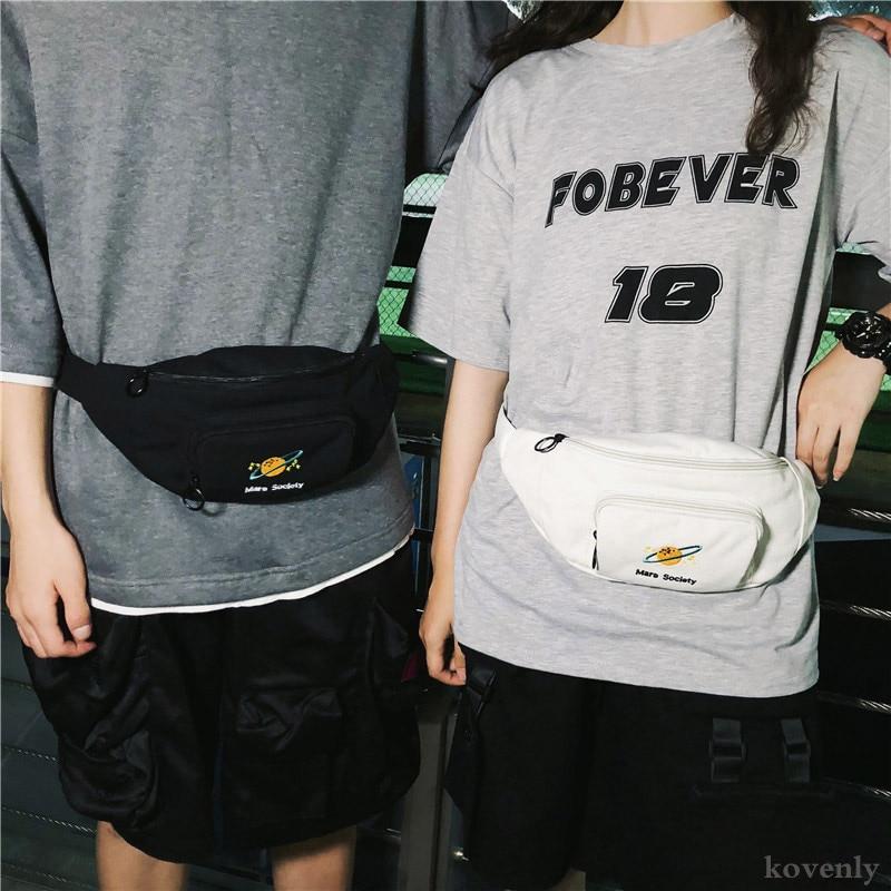 Men Waist Bag For Women Banana Fanny Pack Canvas Waist Belt Bags Harajuku Chest Bags Female Casual Bum Pack