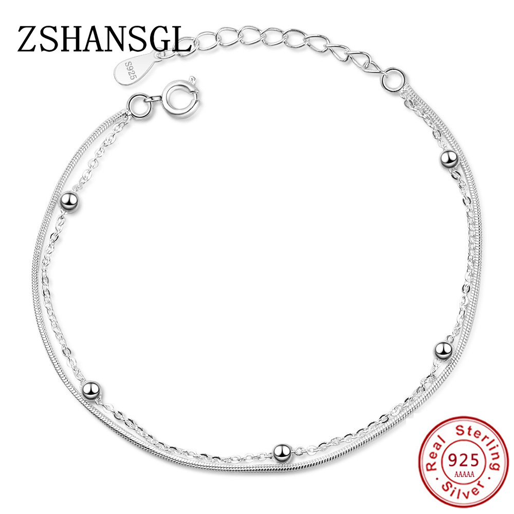 New Double-deck Bracelet & Bangle Adjustable Mujer Charm 925 sterling silver Bracelet For Women Bridal Wedding Jewelry