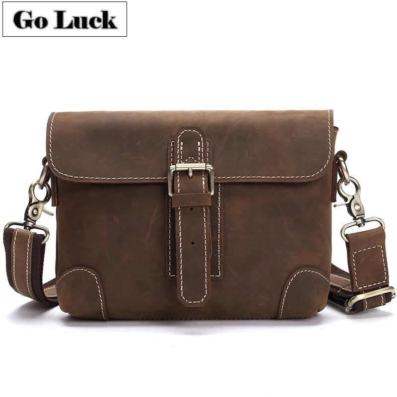 GO LUCK Brand Handmade Genuine Crazy Horse Leather font b Shoulder b font font b Bag