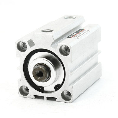 5mm Shaft Hole Dia SDA32X35 Single Rod Dual Action Pneumatic Thin Cylinder Connectors     - title=