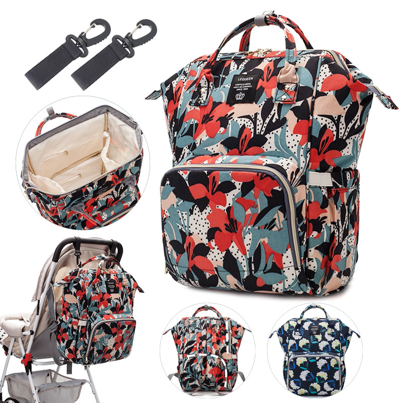 Lequeen Baby Diaper Bag Backpack Baby Organizer Bags For Mom With Hooks Large Stroller Bag For Mommy Baby Changing Mummy Bag